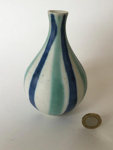 Striped studio bud vase, AD painted mark. 55137d10