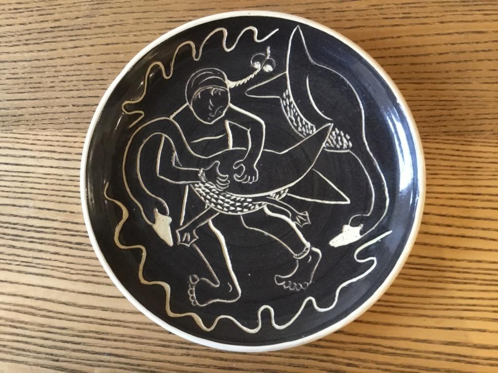 Studio plate girl & goose or swan 567efd10