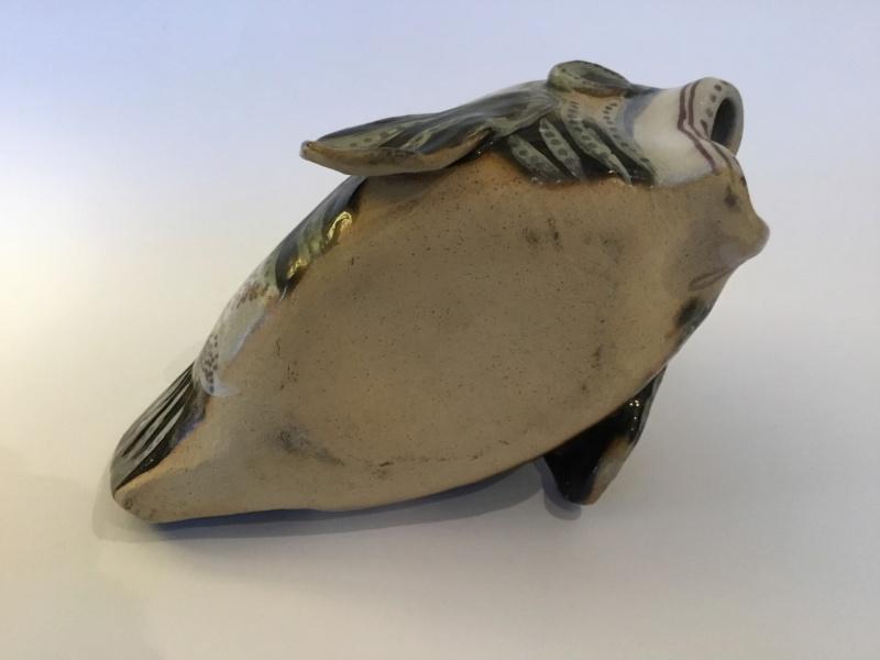 Pretty/ grotesque studio pottery fish, gold decoration  57875910