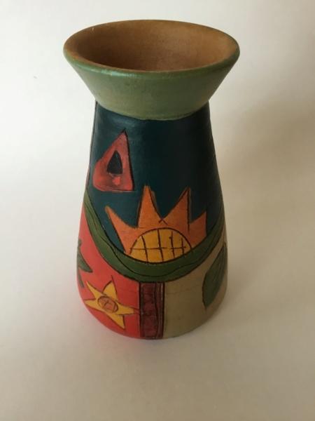Earthenware colourful painted vase - Masca, Tenerife & Canary Islands 5c7e3310