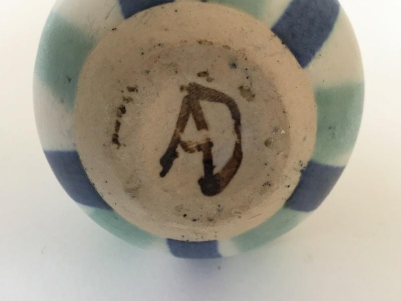 Striped studio bud vase, AD painted mark. 5c911410