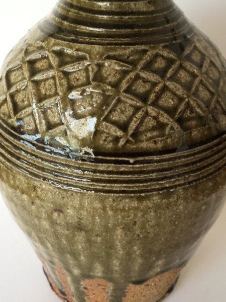 "Stoneware 10"" studio bottle vase ash glaze, drips, impressed diamonds 5e105f10"