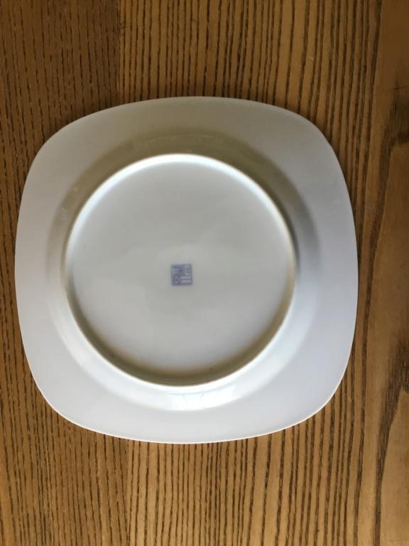 Modern blue white Factory flower plate, marked 5e926b10