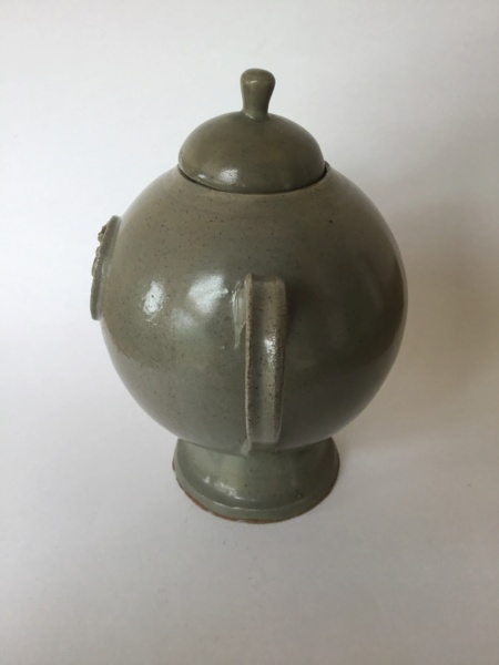 Unusual studio lidded handled pot, medieval seal 5eeb6210