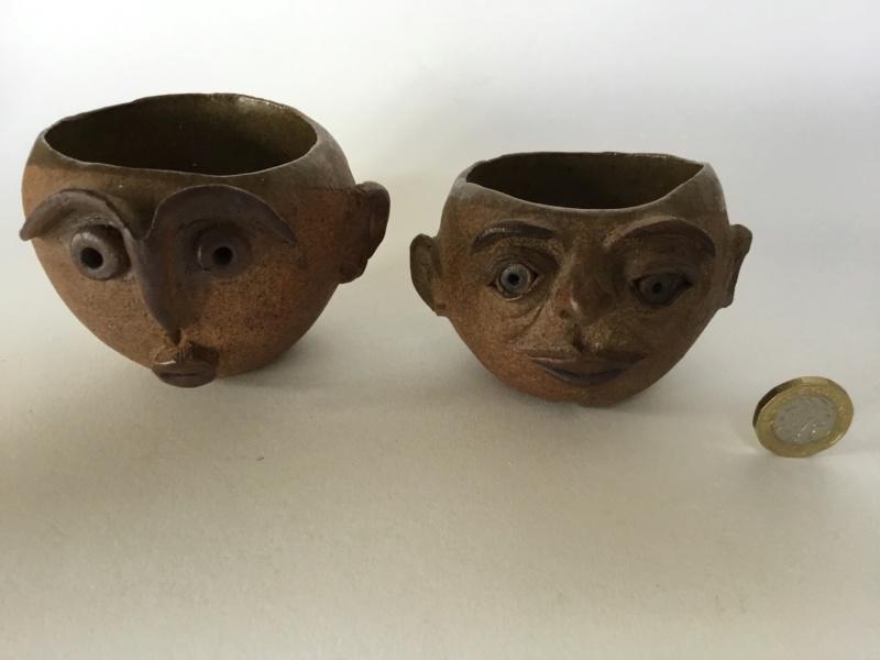 Studio face pots, J 72 mark stoneware  60e5cb10