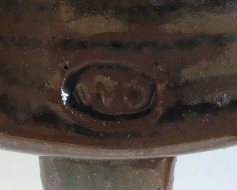 Studio pottery candle holder tenmoku glaze mystery OM or WO mark 62faa710