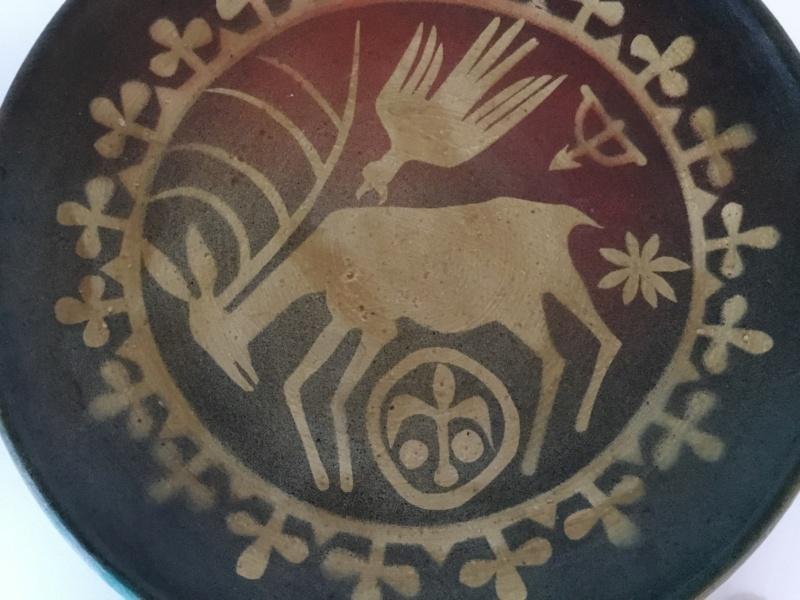Yugoslavia 1970 studio pottery deer & eagle plate 63014610