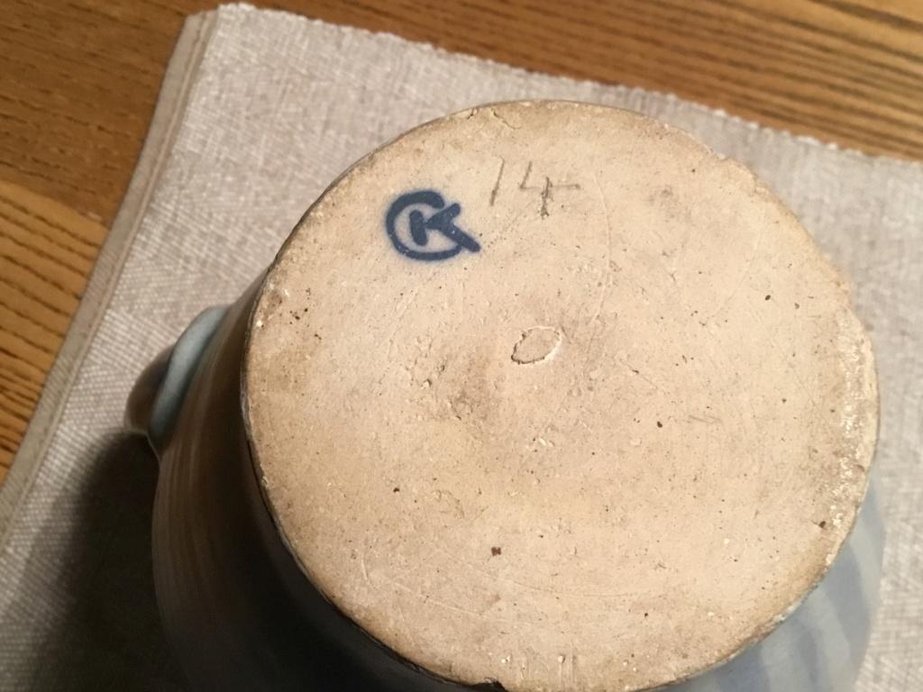 Striped studio jug, CK painted mark 63630010