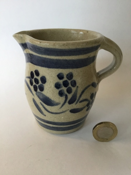 Stoneware milk jug, ja  mark, blue flowers on grey oatmeal glaze 64371d10