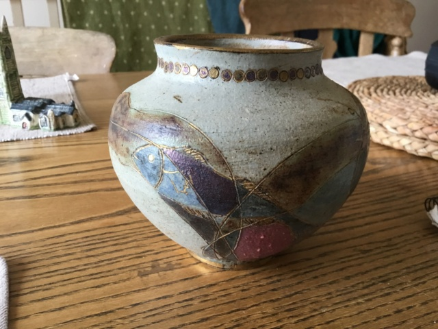 Studio vase. fish & gold decoration, RM mark - Rachel May (nee Forrester) 6a05ee10