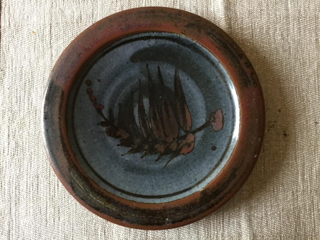 stoneware studio dish, leaf painted,  JA mark AP mark  6b59de10
