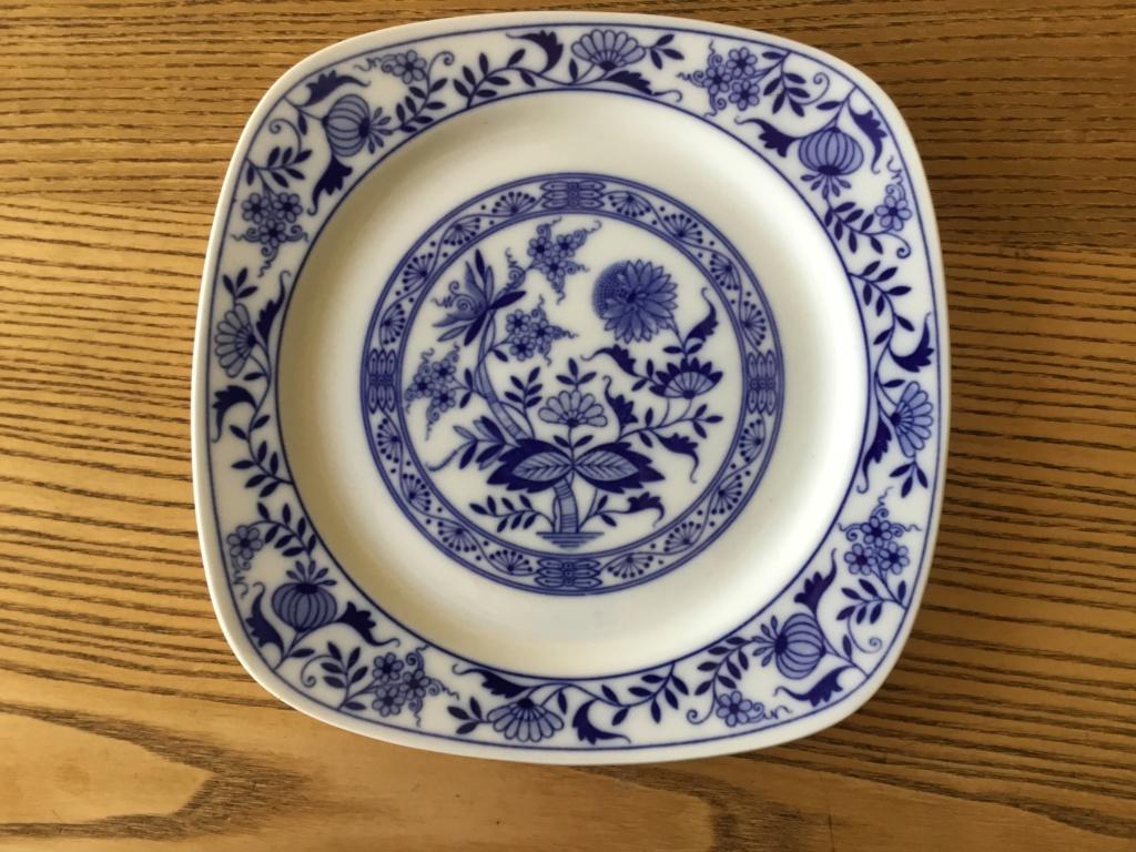 Modern blue white Factory flower plate, marked 6df97d10