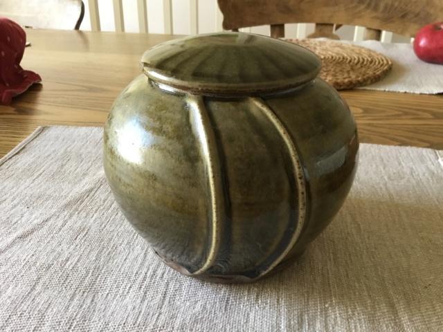 Unmarked Studio Lidded Jar, green glaze 711a6710