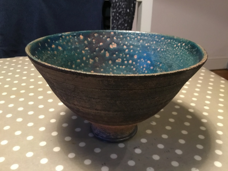 Raku bowl, blue inside, browns outside, Hh or Hw mark?  7211b010