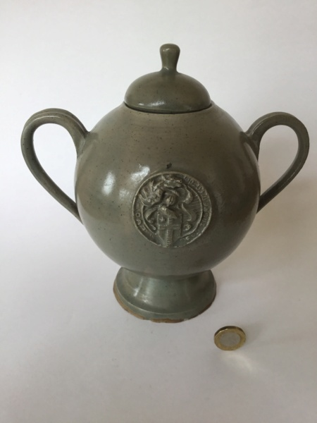 Unusual studio lidded handled pot, medieval seal 75acac10