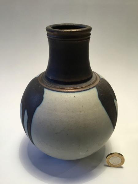 """7"""" stoneware vase, metallic lustrous drip glaze, impressed S -Simon Rich 75b87010"""