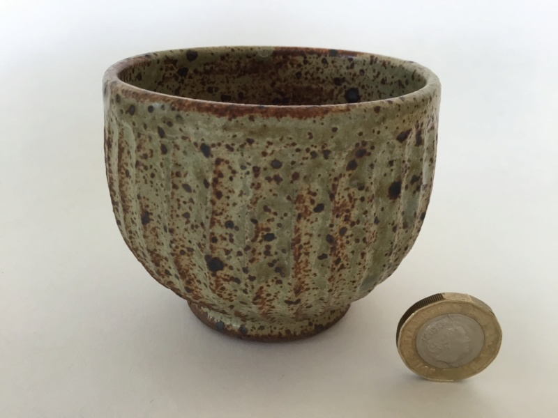 Stoneware studio yunomi, fluted,  speckled glaze, possibly mp mark 7b53d710