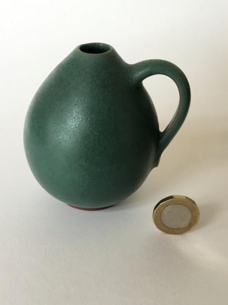 Small green vase, green glaze, Scandinavian? Incised 73 7d876910