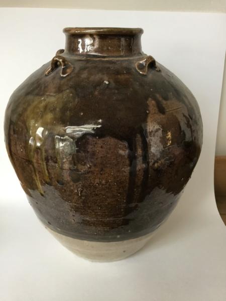 studio vase, 4 lug handle, mixture of glazing colours, drips. British Asia? 8107ba10