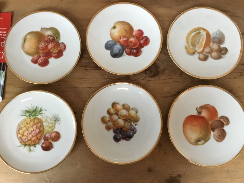 Continental porcelain fruit plates, clover mark 89000e10