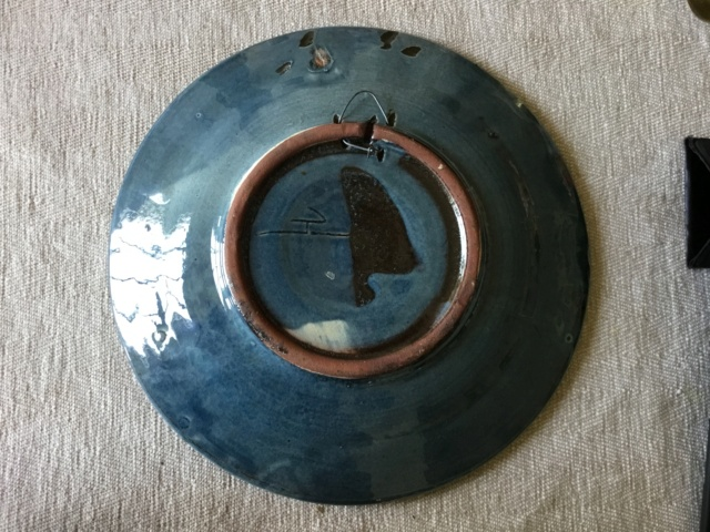 Studio art pottery galleon wall plate, signed 8a36f110