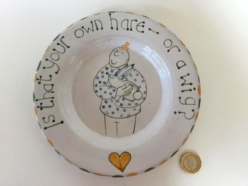 Modern studio earthenware hand painted motto plate hair/ hare 8bca3510