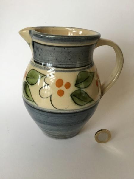 Earthenware jug, leaf decoration, PL impressed mark - Lostwithial Pottery 8ecd8010