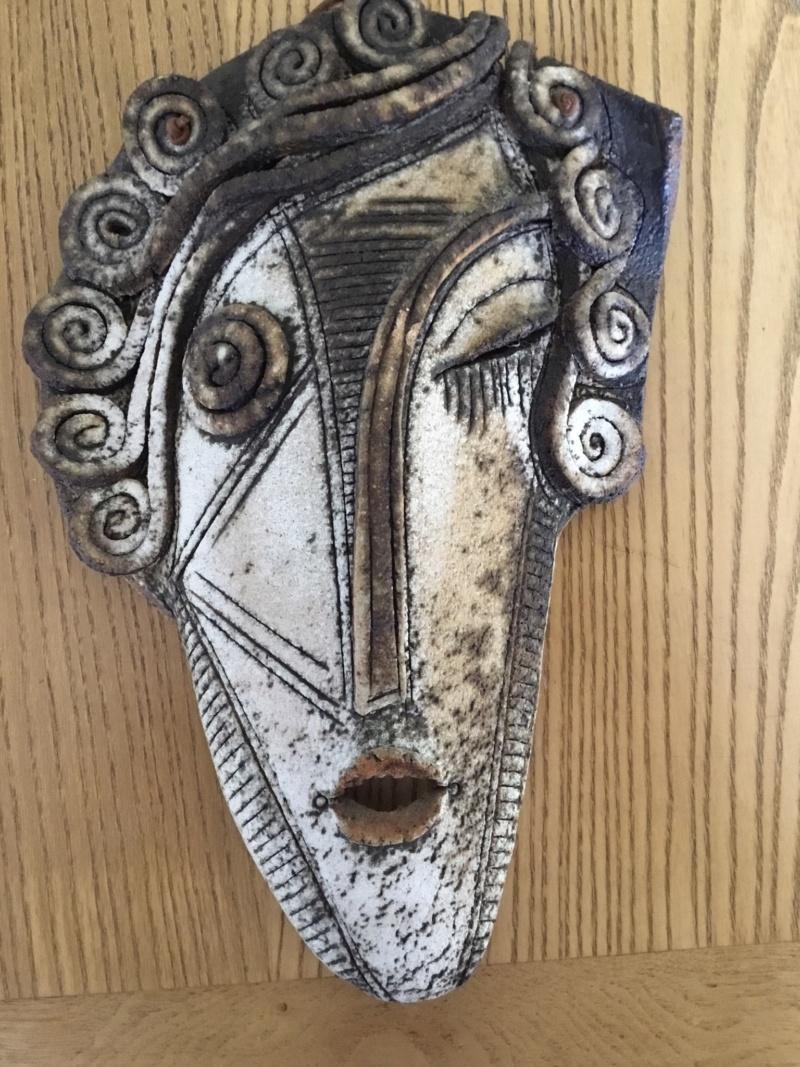 Studio stoneware woman's face plaque 8fb05610