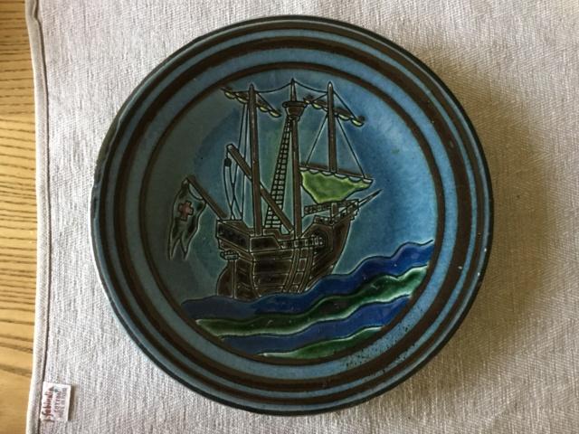 Studio art pottery galleon wall plate, signed 90f7b510