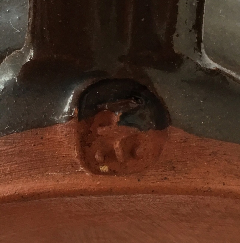 Earthenware face mug, F mark, cross, dots - Glaneirw Pottery, Wales  91577810