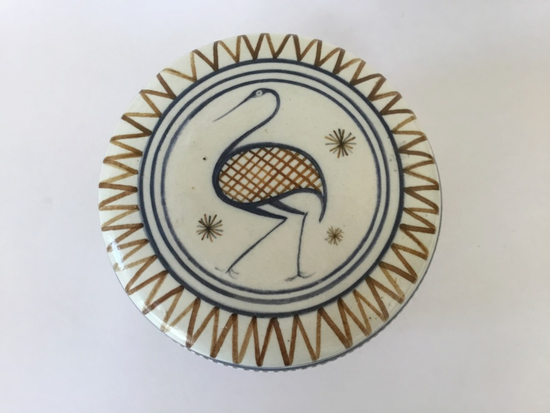Handpainted heron container and lid 92670810