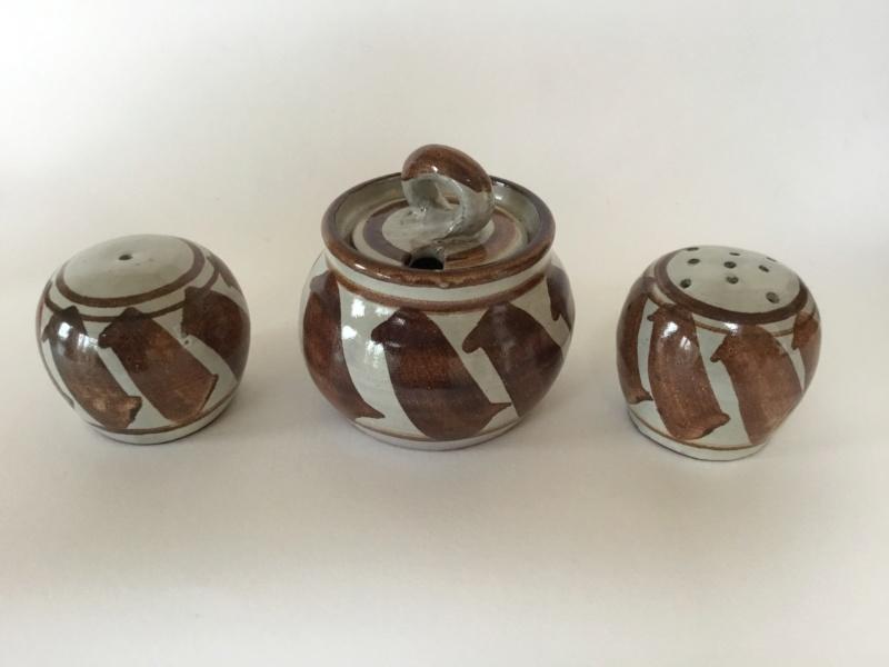 Studio cruet set, red clay, copper brown decoration  932f6610