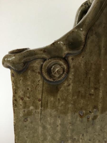 Studio slab wall vase, 2 marks - cross & dots mark and GL? Ash glaze 99b37e10