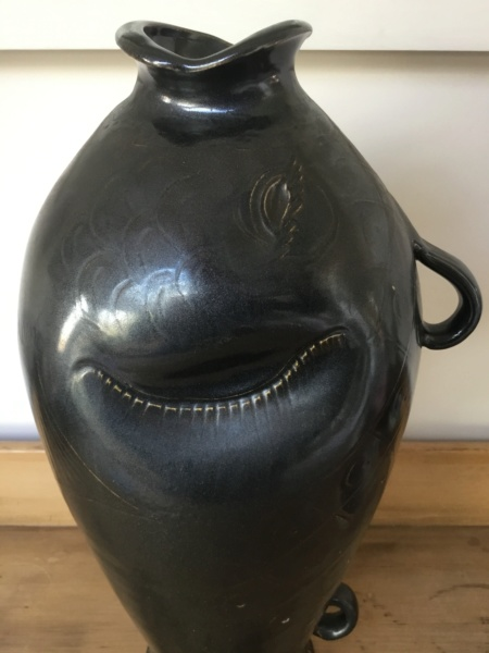 "16"" brown glaze fish studio vase with handles, no mark 9b6d3610"