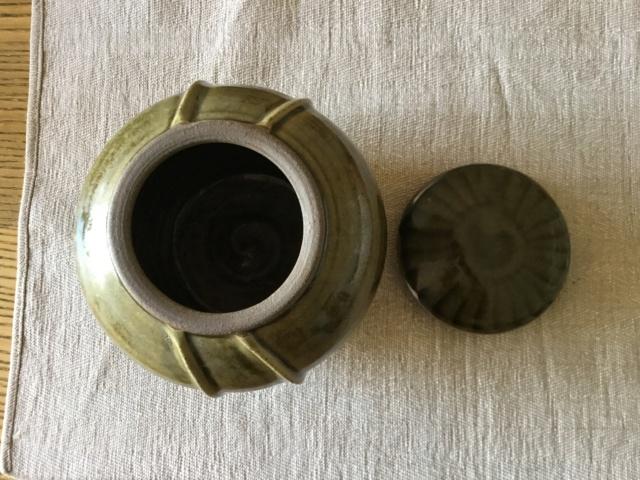 Unmarked Studio Lidded Jar, green glaze A5078710