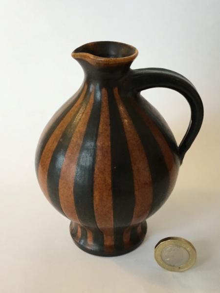 1950s style striped jug, German shop label  Wilhelm Kagel  A7a01d10