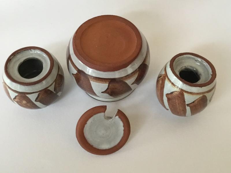 Studio cruet set, red clay, copper brown decoration  Ac50ab10