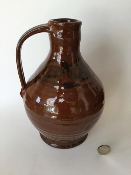 Studio flagon bottle, brown glaze, MG incised Aef69510