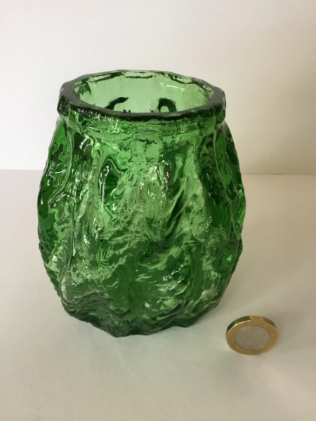 Green moulded textured vase. - Not Whitefriars - Probably Ingrid Glas B0601110