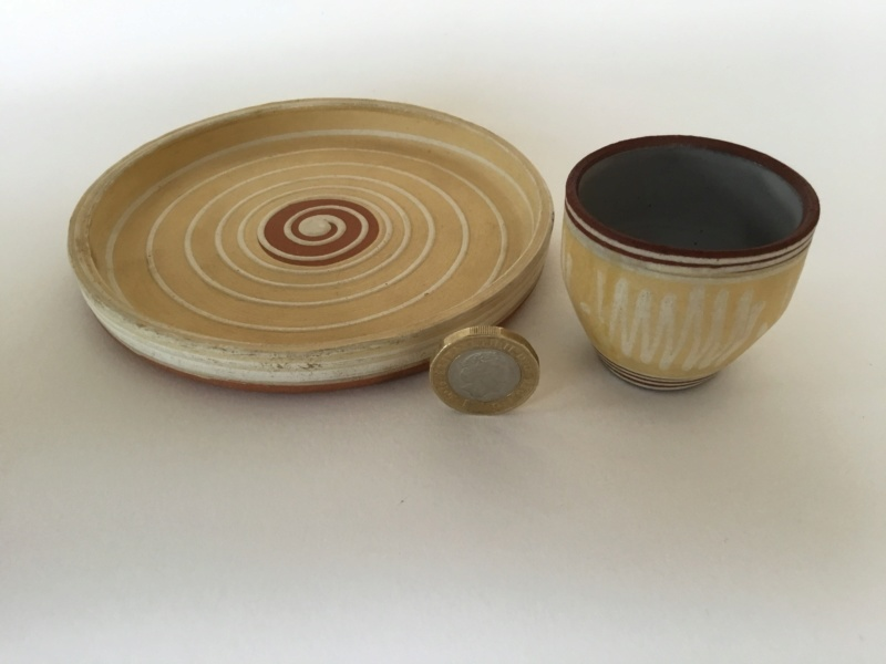 Egg cup and plate set, slip decoration  - Priddoes of Paignton B140fb10