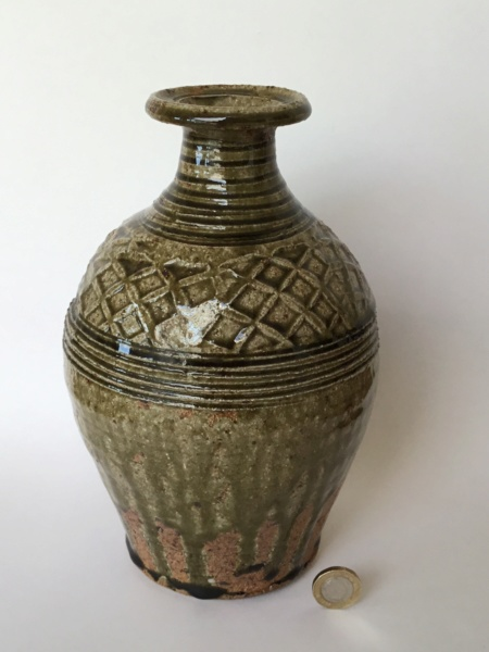 "Stoneware 10"" studio bottle vase ash glaze, drips, impressed diamonds B27b6a10"