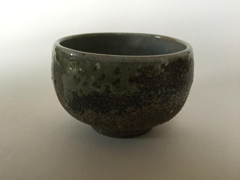 Japanese? Stoneware Yunomi celadon drip glaze, oriental mark? B4954510