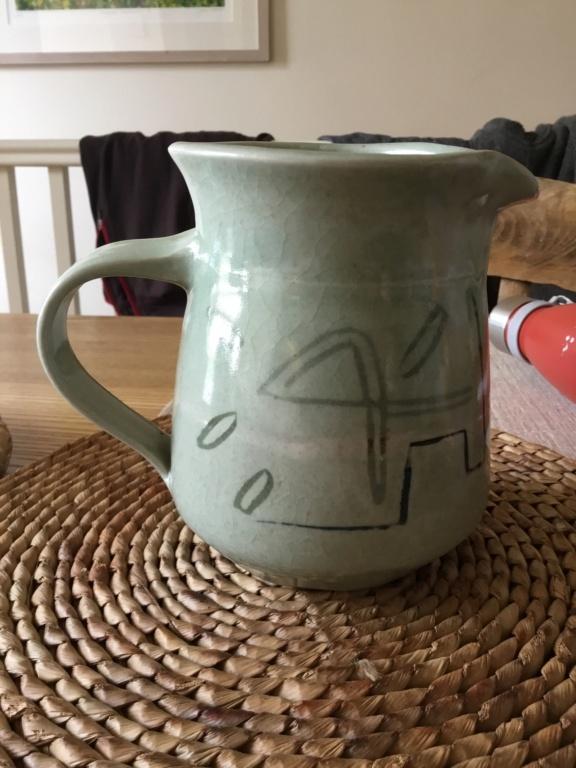 Celadon studio jug, 1987, Fran Davy? Francis Davis? B4b1cf10