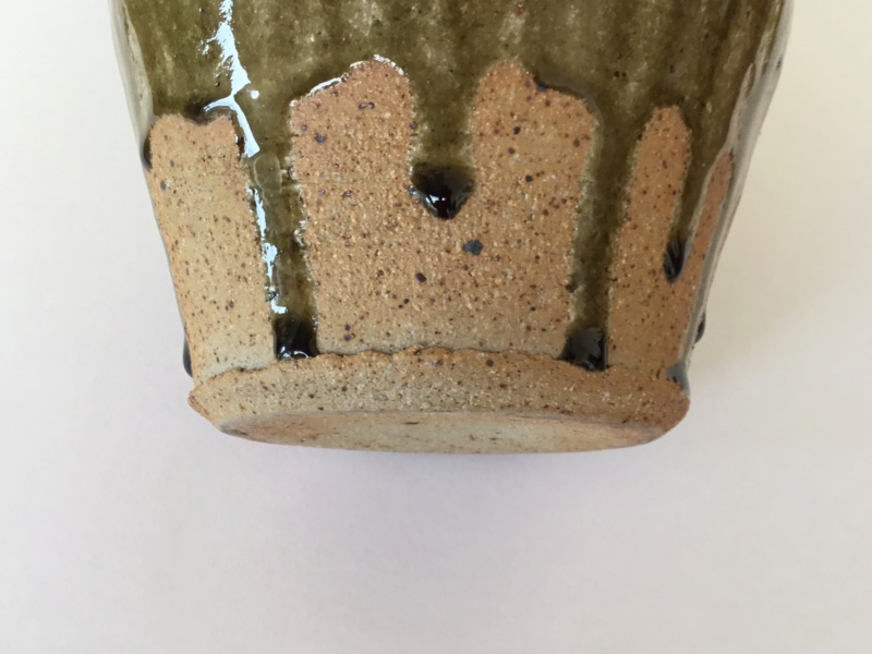 "Stoneware 10"" studio bottle vase ash glaze, drips, impressed diamonds B5a48410"