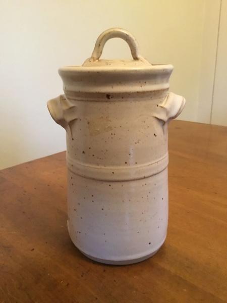 Stoneware studio storage jar, raised CT / CJ? mark Ba3dd910