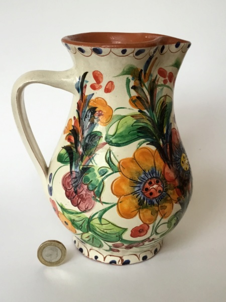 Art pottery sgraffito jug. Portugal? Italian? Signed Bee23010