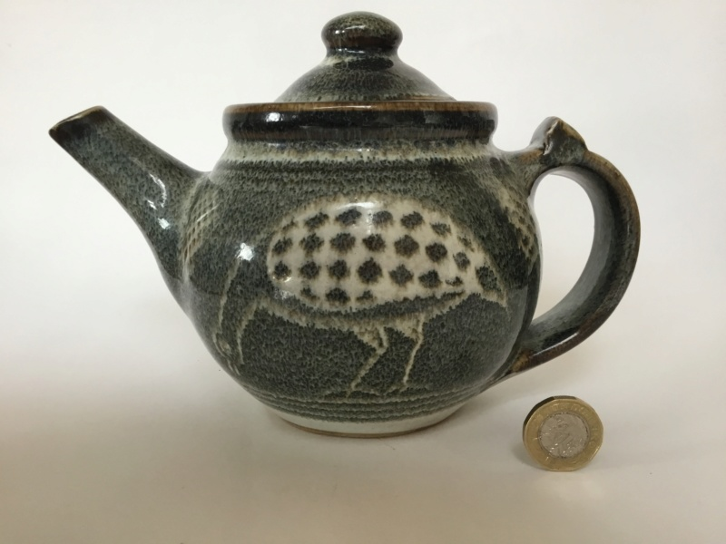 Stoneware studio teapot quail decoration - Chris Lewis  C124c910