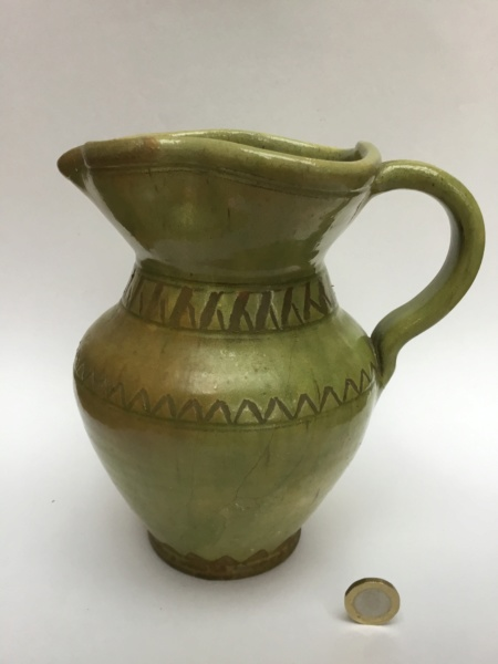 Marked Lascaux French studio jug, green glaze C2179d10