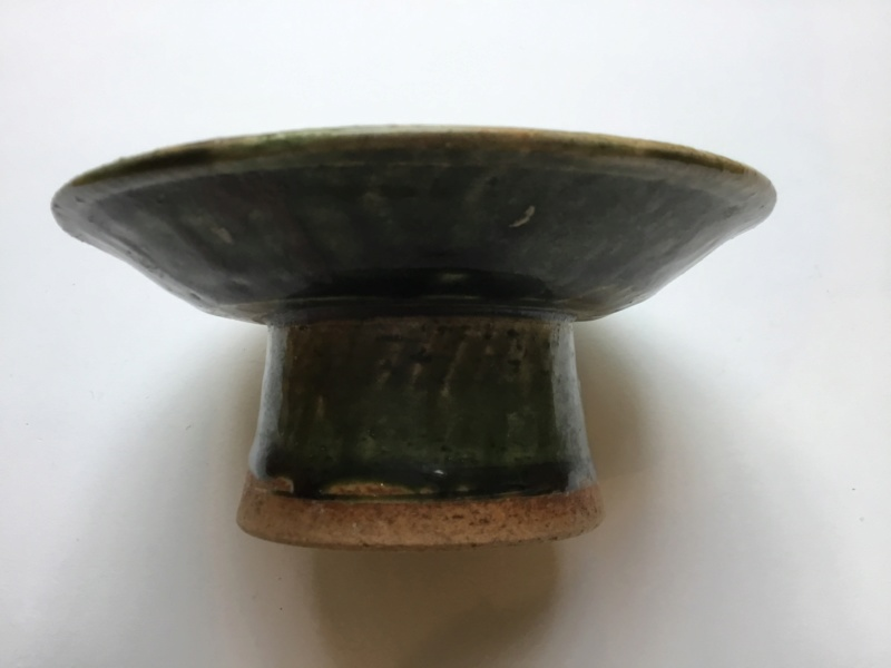 Japanese oribe ware Tazza, footed dish,  C6557d10