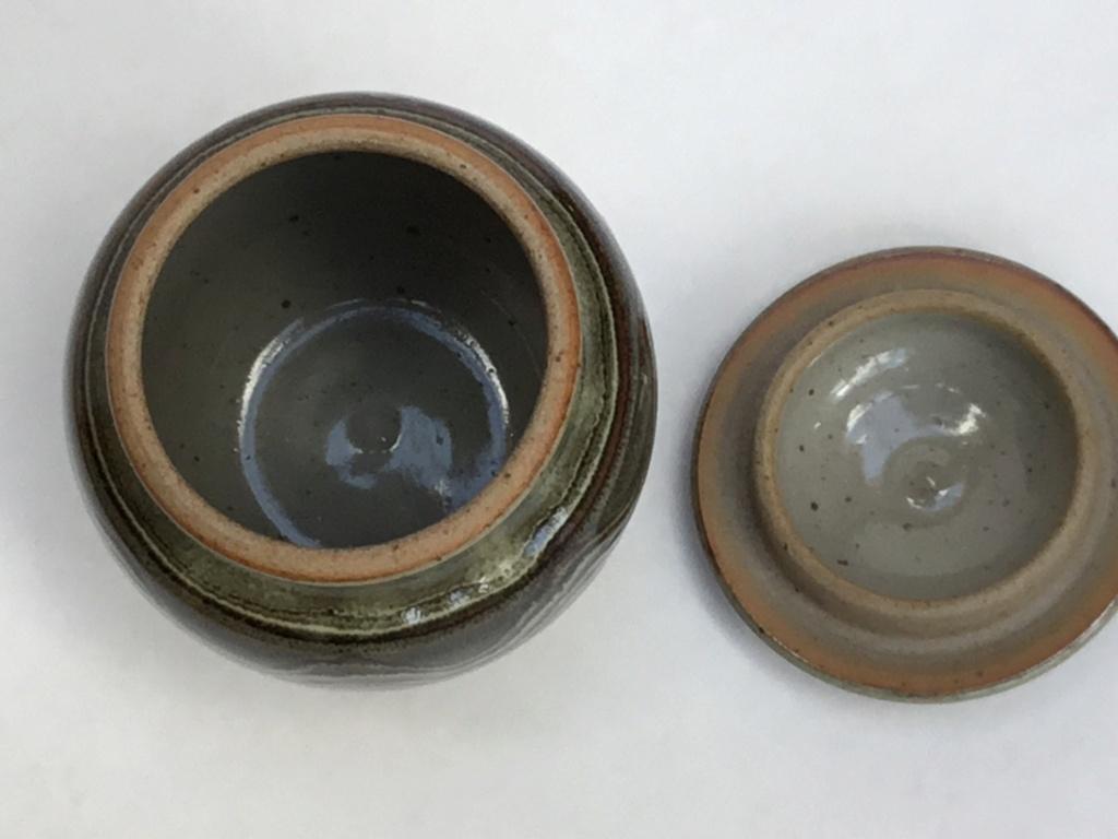 Studio Stoneware lidded jar, painted D - Wenford Bridge or Winchcombe  Ceb75c10